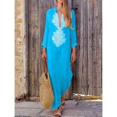 Sheego Roll Sleeve Jersey Robe De Coton Bleu Imprimé Floral Tailles 14 To 32