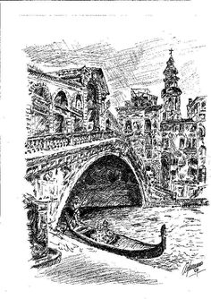 """What about this special """"Rialto bridge""""? Ink on paper 50x70 by Master Scarpa - Venice Litography nr. 16/50"""