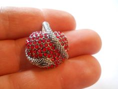 Sterling Silver Snake & Red CZ Heart Pendant