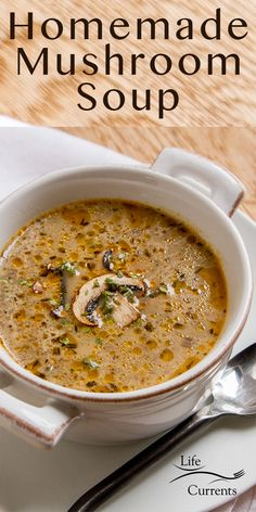 Homemade Mushroom Soup, Mushroom Soup Recipes, Best Soup Recipes, Homemade Soup, Great Recipes, Vegetarian Recipes, Cooking Recipes, Creamy Mushroom Soup, Vegetarian Soup