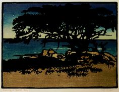 yama-bato William Seltzer Rice (American, Evening Carmel Bay, Color woodcut, image: 9 x 12 in. Glass Printing, Stamp Printing, Woodcut Art, Linocut Prints, Arts And Crafts Movement, Tile Art, Contemporary Artists, Illustration Art, Illustrations