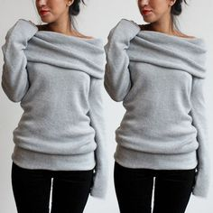 Womens Off Shoulder Cowl Neck Pullover Knitwear Hoodie Sweater Jumper Coat Tops #Unbranded #Sweatshirt
