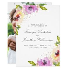 Watercolor Roses | Spring Save The Date Photo Card - invitations custom unique diy personalize occasions