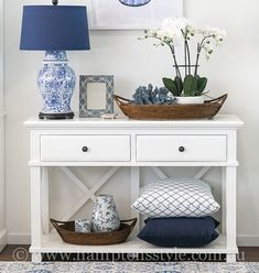 One of our absolute favourites, the Sorrento Two Drawer Console adds a sophisticated, yet understated elegance to your home 💙 Available now, shop yours online today 🙌 Hallway Table Decor, Hallway Decorating, Entryway Decor, Interior Decorating, White Entry Table, Entry Table With Drawers, Hamptons Style Decor, Hamptons House, The Hamptons