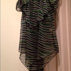 Sheer striped blouse Sheer Zig Zag blouse. Worn once. In excellent condition.  Wear with a cami underneath, looks good with jeans or pants. You can wear with both straps up and sleeves up on shoulders, or just straps and sleeves down (see pics). Tops Blouses