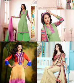 #Vivacious Mint #Green Salwar Kameez, Vivacious #Orange, Pink & Red Ready Made Kurti, Tantalizing #Buttercream Embroidered Saree  #Online #Wedding #Sarees and #suits  provide every girl a chance to get saree that perfectly suits her, providing such a stuff that will make her point of attraction.  bit.ly/1cHoedo