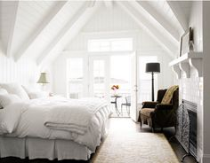 Southern Charm, attic ceiling, fireplace, bedroom, warm bright white light