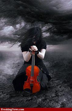 The Sad Violinist by MBHenriksen on DeviantArt Beautiful Dark Art, Gothic Fantasy Art, Great Warriors, Goth Art, Gothic Steampunk, Dark Beauty, Dark Side, Amazing Photography, Fashion Photography