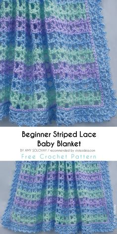 Beginner Striped Lace Baby Blanket Free Crochet Pattern - Knitting and Crochet Baby Afghan Crochet, Afghan Crochet Patterns, Crochet Patterns For Beginners, Knitting Patterns, Baby Afghans, Crochet Crafts, Easy Crochet, Crochet Projects, Free Crochet