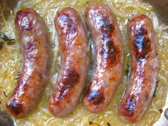 British Bites:  Sausages Roasted on Ale Onions