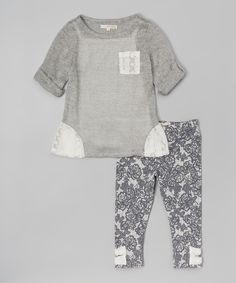 Look at this Self Esteem Gray Tunic & Floral Leggings - Toddler on #zulily today!
