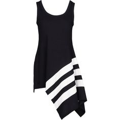 Y-3 Bold Stripe Tank ($140) ❤ liked on Polyvore featuring tops, dresses, tank tops, black, striped tank top, asymmetrical top, stripe tank top, asymmetrical tank and striped jersey