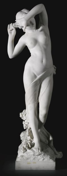 L. FELLI ITALIAN ACTIVE LATE 19TH/ EARLY 20TH CENTURY STANDING NYMPH HOLDING A BUNCH OF FLOWERS