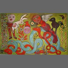 Smiling Angel In The Garden With Serpents, 2006 Complementary colours - that red serpent is like a saxophone solo against the khaki and jade greens. Contemporary Decorative Art, Australian Art, Naive Art, Outsider Art, Art Lessons, Flower Art, I Tattoo, Folk Art, Concept Art