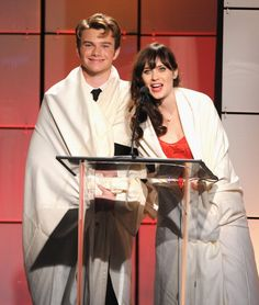 I have no words but flawless.   Chris Colfer and Zooey Dechanel at the at the Critics' Choice Awards.