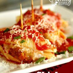 Chicken Parmesan Stuffed Shells Recipe Main Dishes with jumbo pasta shells, chicken strips, mozzarella cheese, pasta sauce, shredded mozzarella cheese, fresh basil