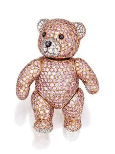 Lot 486 – 18 karat two-color gold, pink diamond and diamond brooch, Graff. Photo Sotheby's The playful teddy bear brooch with. Gemstone Brooch, Diamond Brooch, Graff Jewelry, Diamond Jewelry, Jewellery, Bijou Box, Everything Pink, Animal Jewelry, Diamond Are A Girls Best Friend