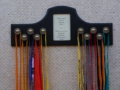Running Medal Holder for 10 Medals Black Running Bibs, Running Medals, Award Display, Display Ideas, Hockey Bedroom, Cup Hooks, Medal Holders, Finish Line, Wall Plaques