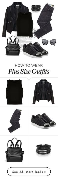 """""""Suggested #64 Black"""" by lisa-boobear on Polyvore featuring Givenchy, Zizzi, adidas Originals, River Island and Sif Jakobs Jewellery"""