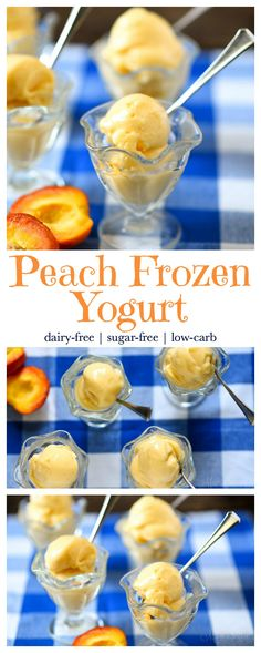 Easy to make delicious Dairy-Free Peach Frozen Yogurt. Treat yourself and your family to a healthy summery treat. Sugar-free, low-carb, THM FP,