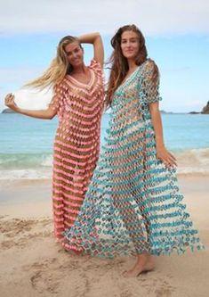 Crochet Puff Flower, Crochet Flower Patterns, Crochet Lace, Crochet Flowers, Crochet Beach Dress, Crochet Cover Up, Transparent Dress, Floral Gown, Beach Dresses