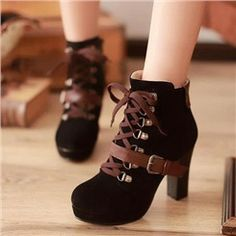 Attractive Chunky Heels Ankle Boots with Buckle