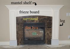 diy mantel and surround  Really like the mantel legs and the trim