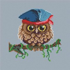 Cross stitch pattern PDF Owl pirate by UAHomeMadeStudio on Etsy