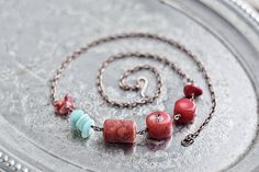 Beaded gypsy  boho copper chain necklace  red coral by SabiKrabi, $34.00