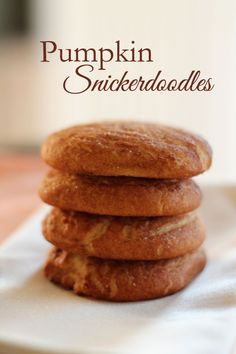Pumpkin Snickerdoodles - classic snickerdoodle recipe with the addition of pumpkin puree. A delicious seasonal twist! Pumpkin Recipes, Fall Recipes, Holiday Recipes, Cookie Recipes, Dessert Recipes, Holiday Treats, Just Desserts, Delicious Desserts, Yummy Food