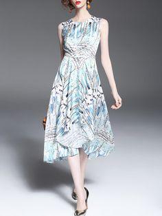 Blue Crew Neck Floral Print Sleeveless Midi Dress