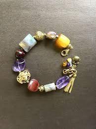 AMETHYST, AMBER, OPAL, Asian amulet boho bracelet.