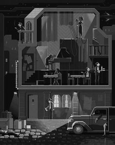 "Scene ""The Night Club"". Pixel Art Illustrations by Octavi Navarro. Game Design, Design Art, Pixel Art Background, Club Poster, Isometric Art, Digital Illustration, Art Illustrations, Community Art, Traditional Art"
