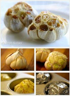 Roasted Garlic is so easy! The best way to eat it. Real Food Recipes, Vegetarian Recipes, Cooking Recipes, Yummy Food, Cooking Tips, Carne Asada, Simply Recipes, Clean Eating Recipes, Food Hacks
