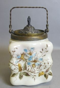 Rare Wavecrest Egg-Crate Biscuit Barrel Jar c. 1900  C. F.Monroe Art Glass #Eggcrate #CFMonroe
