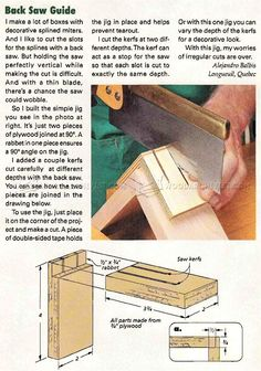 Back Saw Guide - Joinery Tips, Jigs and Techniques | WoodArchivist.com