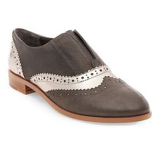 Steven By Steve Madden Alvanah Leather Wingtip Slip-On Oxfords ($29) ❤ liked on Polyvore featuring shoes, oxfords, pewter, polish leather shoes, leather oxfords, wingtip shoes, oxford shoes and wingtip oxfords
