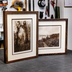 A couple of #photogravure prints we framed in reclaimed walnut. #reclaimedwood #customframing #mtrainier #stanelypark #vancouver #pnw #uacollaboration #johnmuir