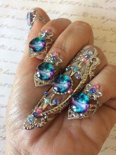 Galaxy nail ring set nail jewels nebulosa nail rings claws