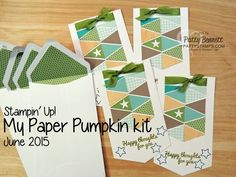June 2015 My Paper Pumpkin kit paper piecing cards with envelope liners from Stampin' Up!