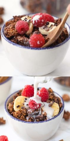 This healthy chocolate almond butter granola uses just 7 ingredients, tastes incredible and is also oil-free and vegan. It's the perfect easy homemade recipe! Just serve some almond milk over and voila – delicious gluten-free breakfast idea. Easy Homemade Recipes, Homemade Baby Foods, Chocolate Granola, Healthy Chocolate, Healthy Breakfast Recipes, Healthy Recipes, Healthy Drinks, Healthy Breakfasts, Vegetarian Recipes