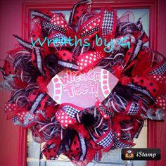 Fall Wreaths, Mesh Wreaths, Sports Wreaths, Stair Decor, Texas Tech, School Decorations, Crafts To Do, Seasonal Decor, 4th Of July Wreath