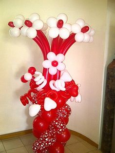 Decorative Column for Valentine's day bouquet – Valentines Day Bouquet Balloon Pillar - Decoration For Home Balloon Pillars, Balloon Arch, Valentines Balloons, Valentines Day Decorations, Balloon Flowers, Balloon Bouquet, Ballon Arrangement, Balloons Galore, Balloons And More
