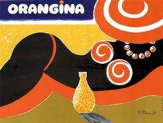 Orangina vintage advertsing poster art by Bernard Villemot