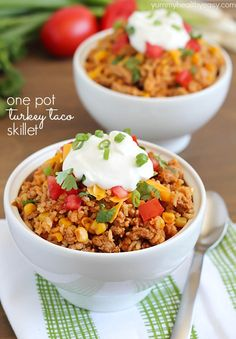 Turkey Taco Skillet - easy and healthy 30 minute meal cooked all in one pot! Easily made clean