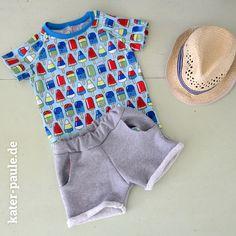 EmJo Summer Set / Shorts + T-Shirt / Eis am Stiel / Popsicle / Sweat / Jersey / Kater Paule / Nähgedöns
