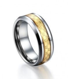 Bright Gold Carbon Fiber Inlay Tungsten Ring