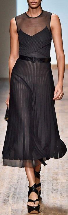 Salvatore Ferragamo Nero Punto Plisse Knit Dress