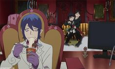 Rin and Yukio XD and then there's just Mephisto casually eating ramen XD