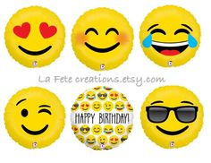 "Trendy ""Emoji Balloons  The New & Trendy Emoji Balloons is a must..!!  Pick your Emoticon from the above drop down box  Hearts/Love 18"" Smiley/Blushing 18"" LOL 18"" Wink 18"" Happy Birthday 18"" Sunglasses 18  Pile of Poo 24 Sold Separately Click on link to purchase https://www.etsy.com/listing/270152282/poop-emoji-balloon-large-24-mylar?ref=shop_home_active_23  Put a SMILE on everyones face :)  You will LOVE these balloons  Ships flat (not inflated) Can be inflated with Helium or Air"